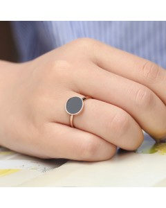 bague or rose black ring